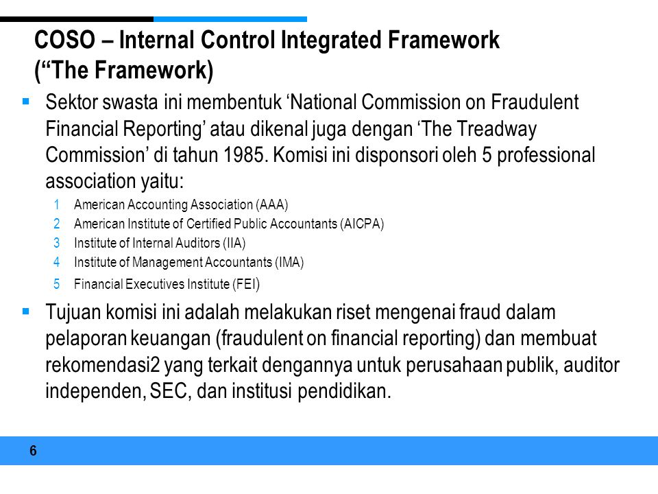 COSO – Internal Control Integrated Framework ( The Framework)