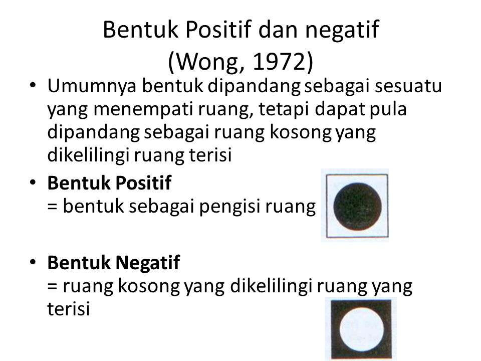 Bentuk Positif dan negatif (Wong, 1972)