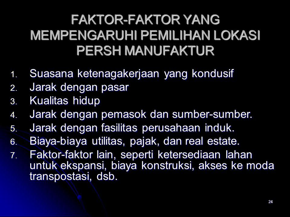 FAKTOR-FAKTOR YANG MEMPENGARUHI PEMILIHAN LOKASI PERSH MANUFAKTUR