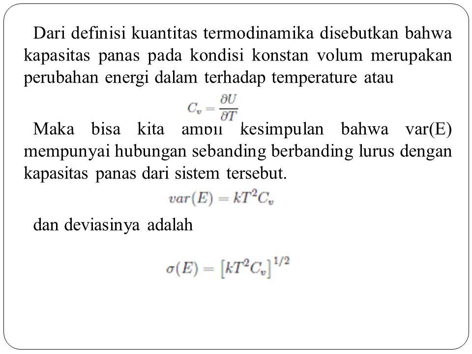 Dari definisi kuantitas termodinamika disebutkan bahwa kapasitas panas pada kondisi konstan volum merupakan perubahan energi dalam terhadap temperature atau Maka bisa kita ambil kesimpulan bahwa var(E) mempunyai hubungan sebanding berbanding lurus dengan kapasitas panas dari sistem tersebut.