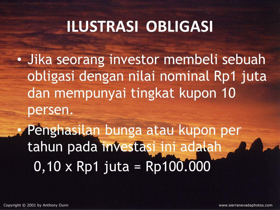 ILUSTRASI OBLIGASI Jika seorang investor membeli sebuah obligasi dengan nilai nominal Rp1 juta dan mempunyai tingkat kupon 10 persen.