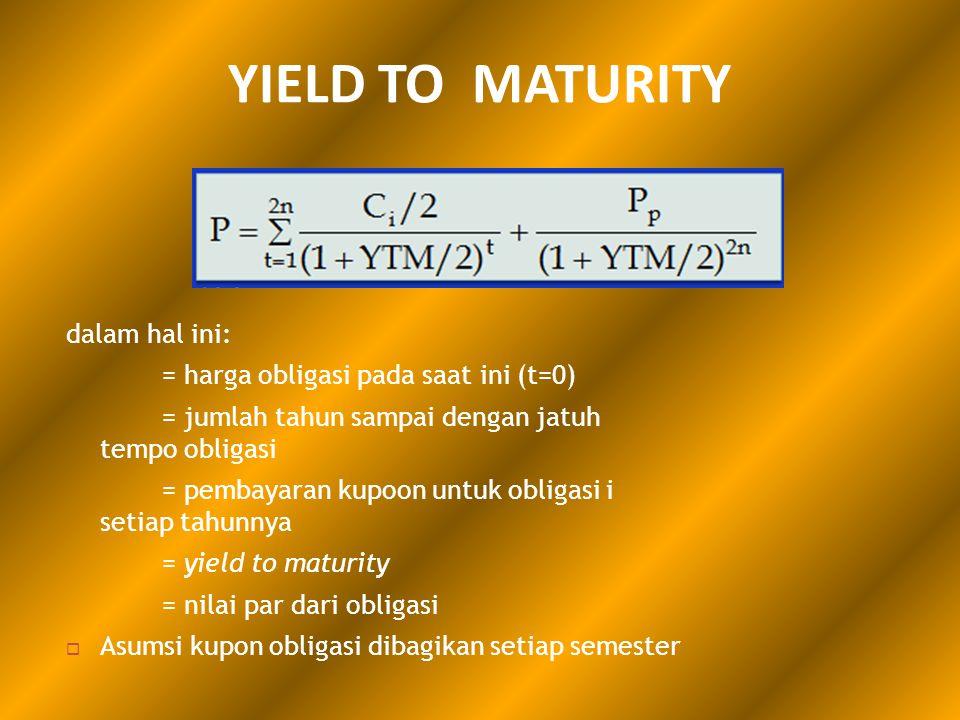 YIELD TO MATURITY dalam hal ini: = harga obligasi pada saat ini (t=0)