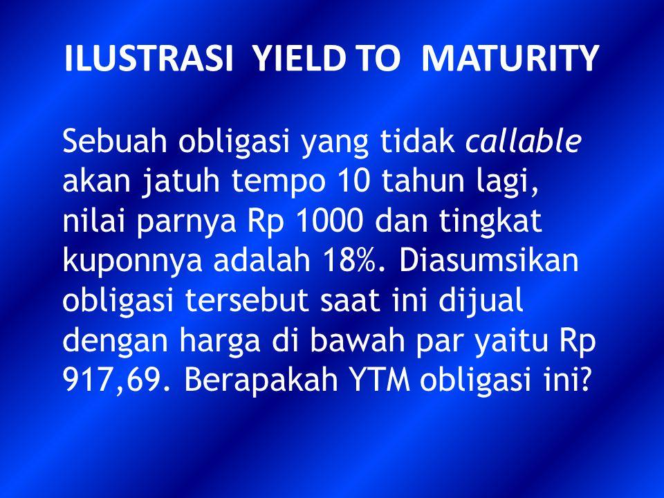 ILUSTRASI YIELD TO MATURITY