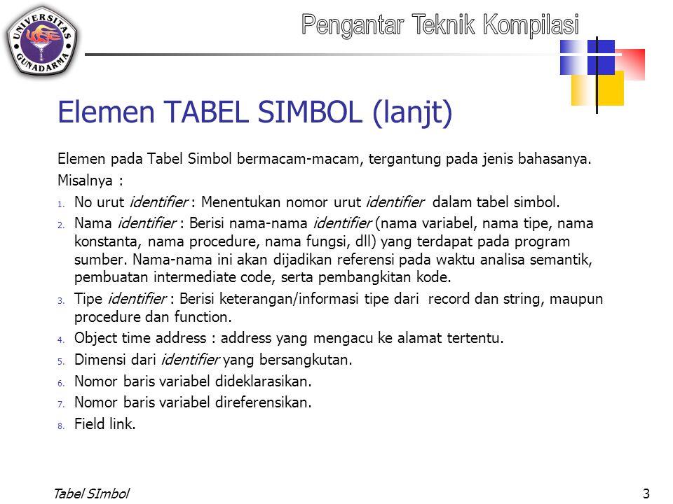 Elemen TABEL SIMBOL (lanjt)