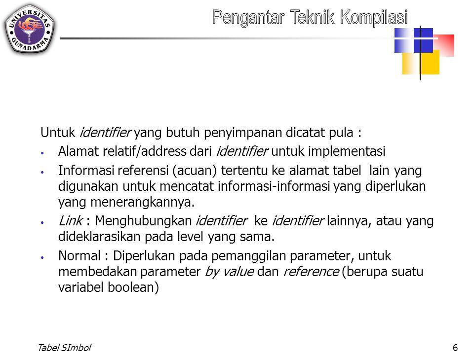 Untuk identifier yang butuh penyimpanan dicatat pula :