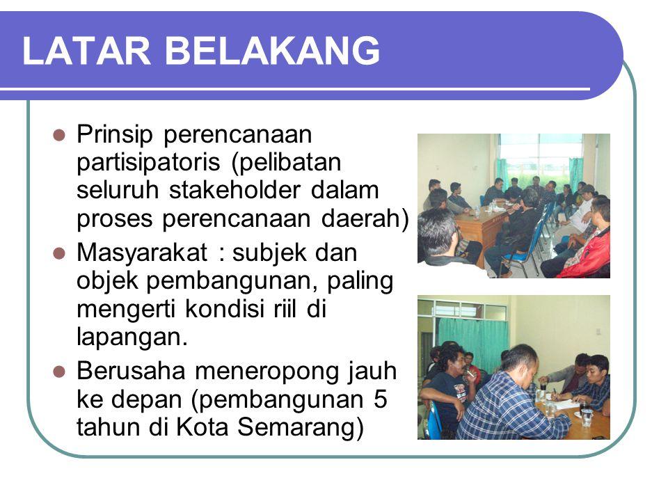 LATAR BELAKANG Prinsip perencanaan partisipatoris (pelibatan seluruh stakeholder dalam proses perencanaan daerah)