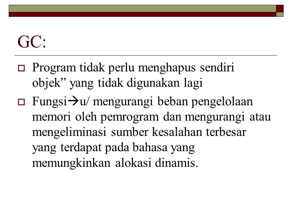 GC: Program tidak perlu menghapus sendiri objek yang tidak digunakan lagi.