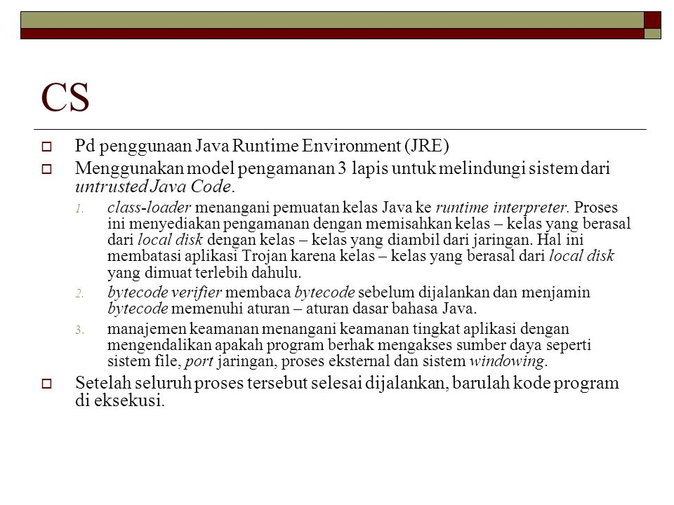 CS Pd penggunaan Java Runtime Environment (JRE)