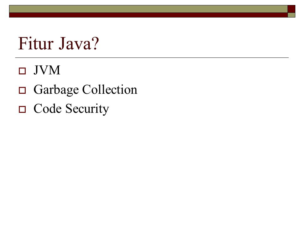 Fitur Java JVM Garbage Collection Code Security