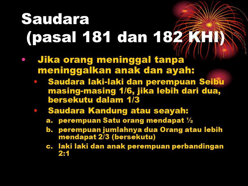 Saudara (pasal 181 dan 182 KHI)