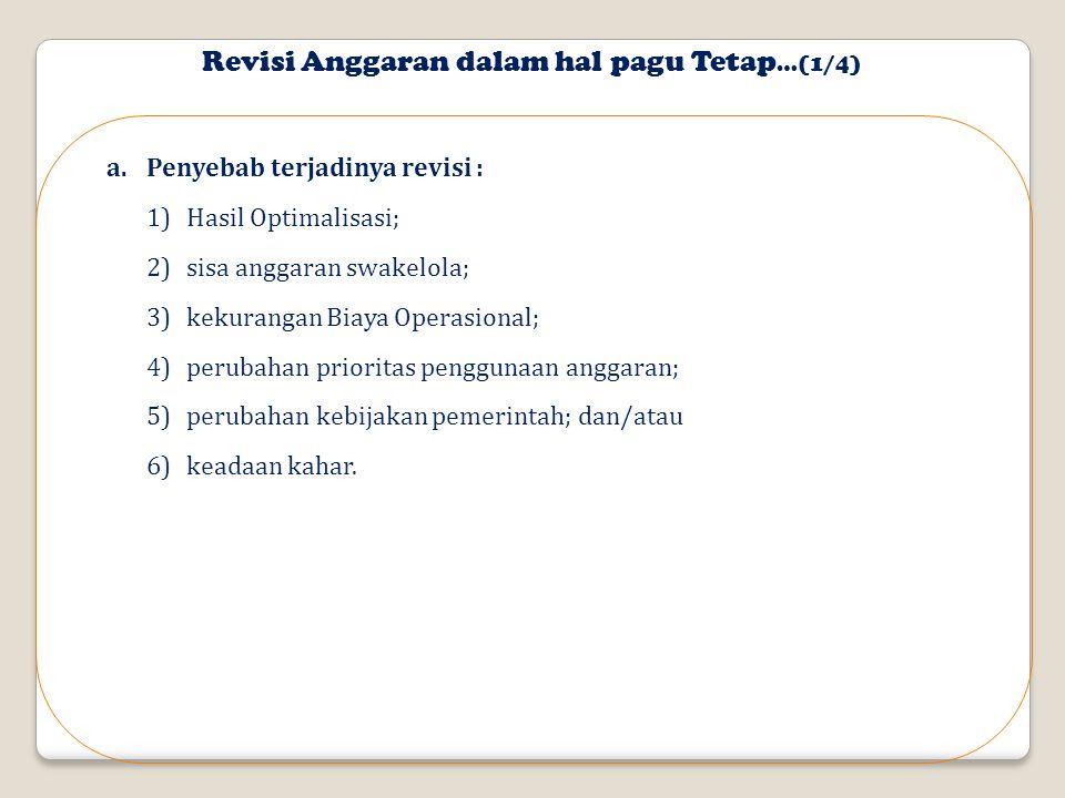 Revisi Anggaran dalam hal pagu Tetap…(1/4)
