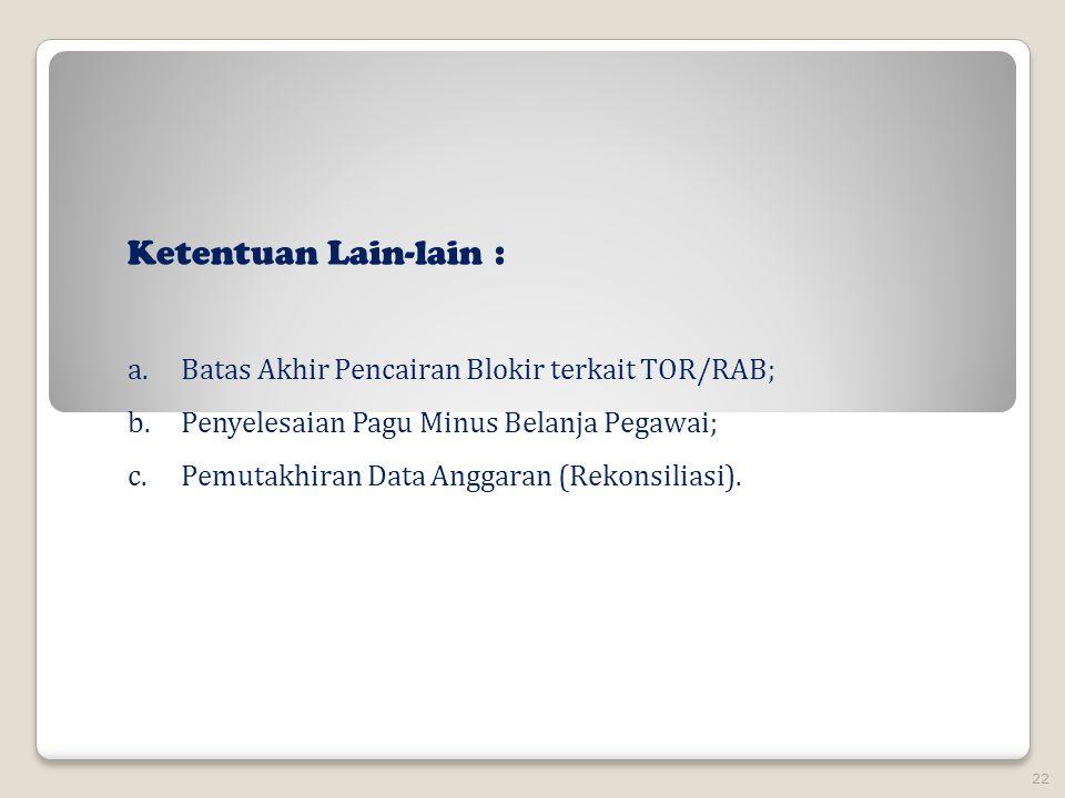 Ketentuan Lain-lain : Batas Akhir Pencairan Blokir terkait TOR/RAB;
