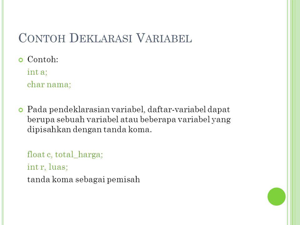Contoh Deklarasi Variabel