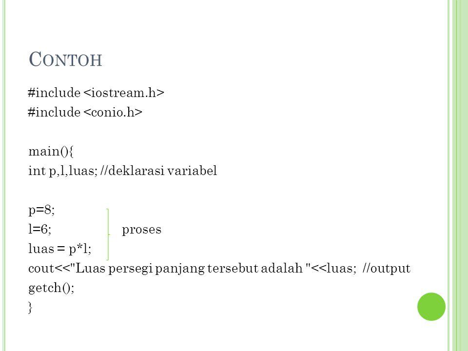 Contoh #include <iostream.h> #include <conio.h> main(){