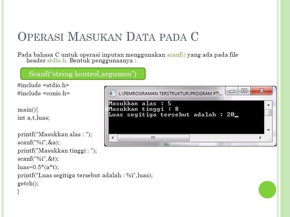 Operasi Masukan Data pada C