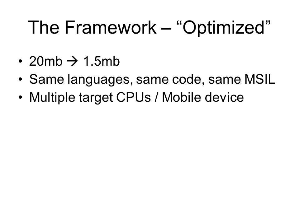 The Framework – Optimized