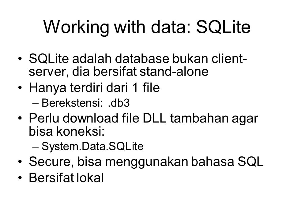 Working with data: SQLite