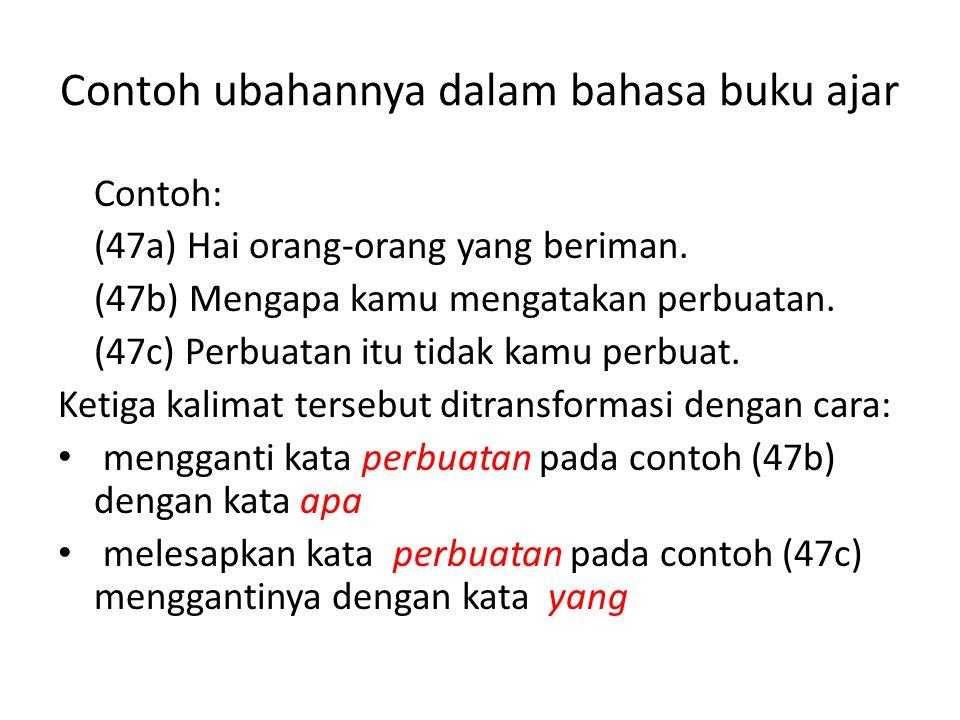 Contoh ubahannya dalam bahasa buku ajar