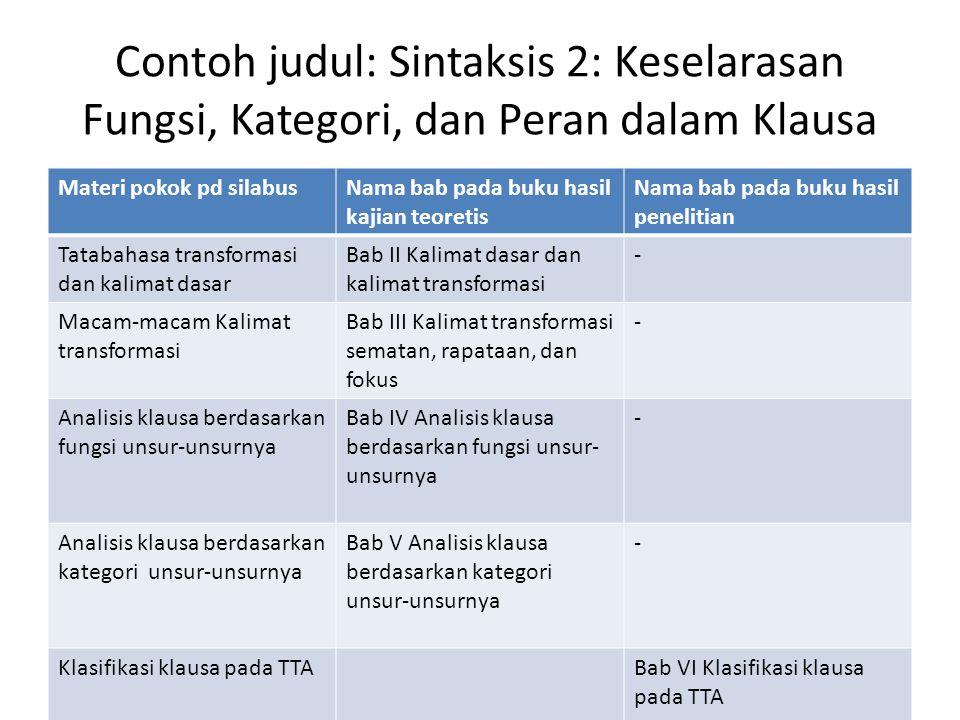 Contoh judul: Sintaksis 2: Keselarasan Fungsi, Kategori, dan Peran dalam Klausa