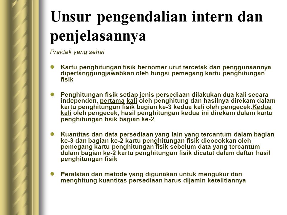 Unsur pengendalian intern dan penjelasannya