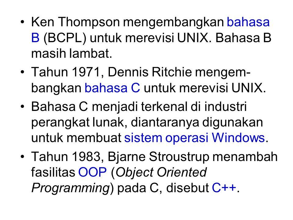 Ken Thompson mengembangkan bahasa B (BCPL) untuk merevisi UNIX