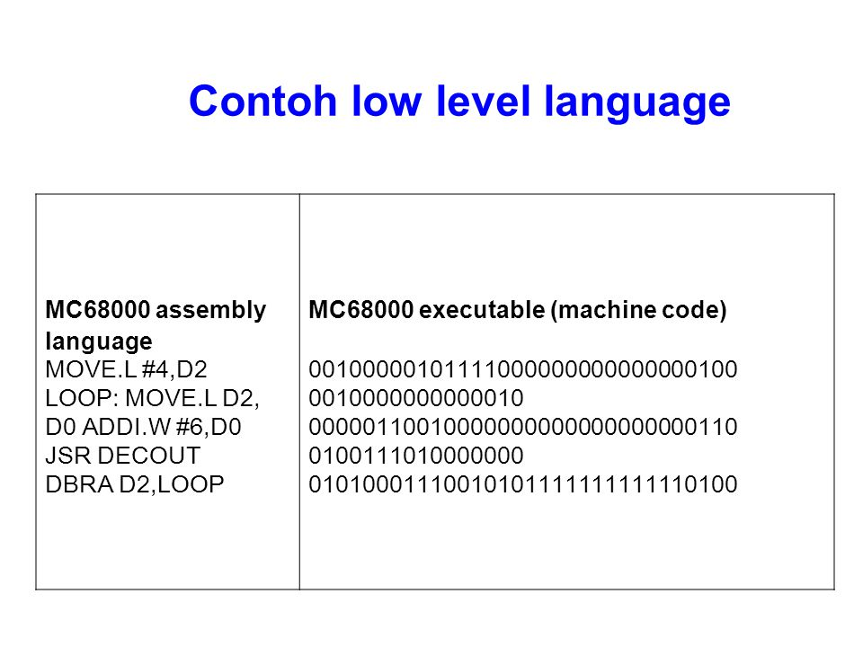 Contoh low level language