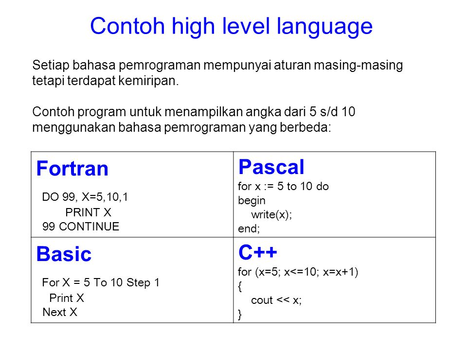 Contoh high level language
