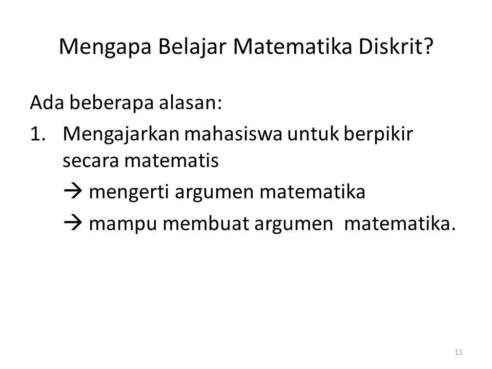 Mengapa Belajar Matematika Diskrit