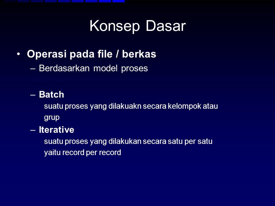Konsep Dasar Operasi pada file / berkas Berdasarkan model proses Batch