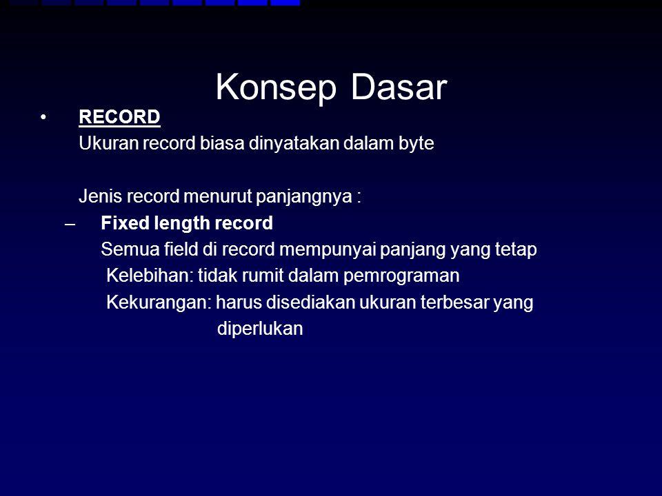 Konsep Dasar RECORD Ukuran record biasa dinyatakan dalam byte