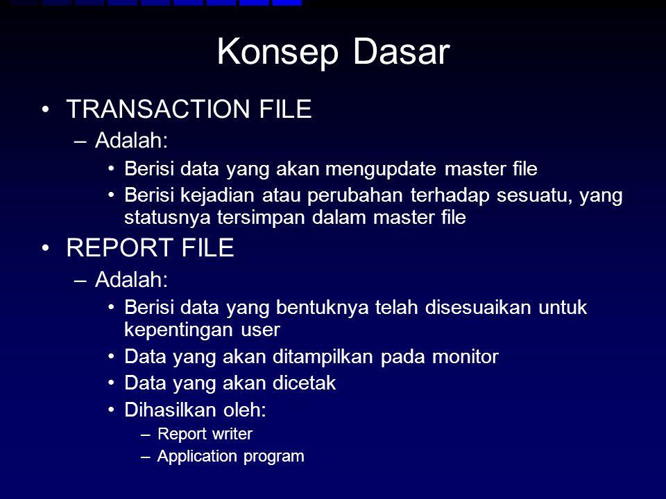 Konsep Dasar TRANSACTION FILE REPORT FILE Adalah: