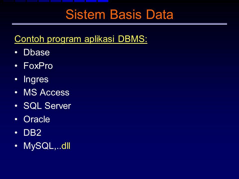 Sistem Basis Data Contoh program aplikasi DBMS: Dbase FoxPro Ingres