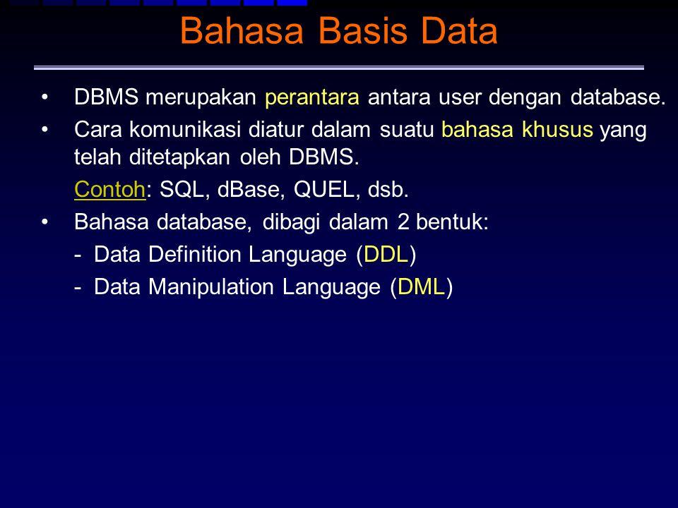 Bahasa Basis Data DBMS merupakan perantara antara user dengan database.