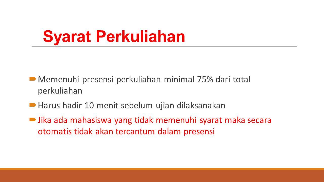Syarat Perkuliahan Memenuhi presensi perkuliahan minimal 75% dari total perkuliahan. Harus hadir 10 menit sebelum ujian dilaksanakan.
