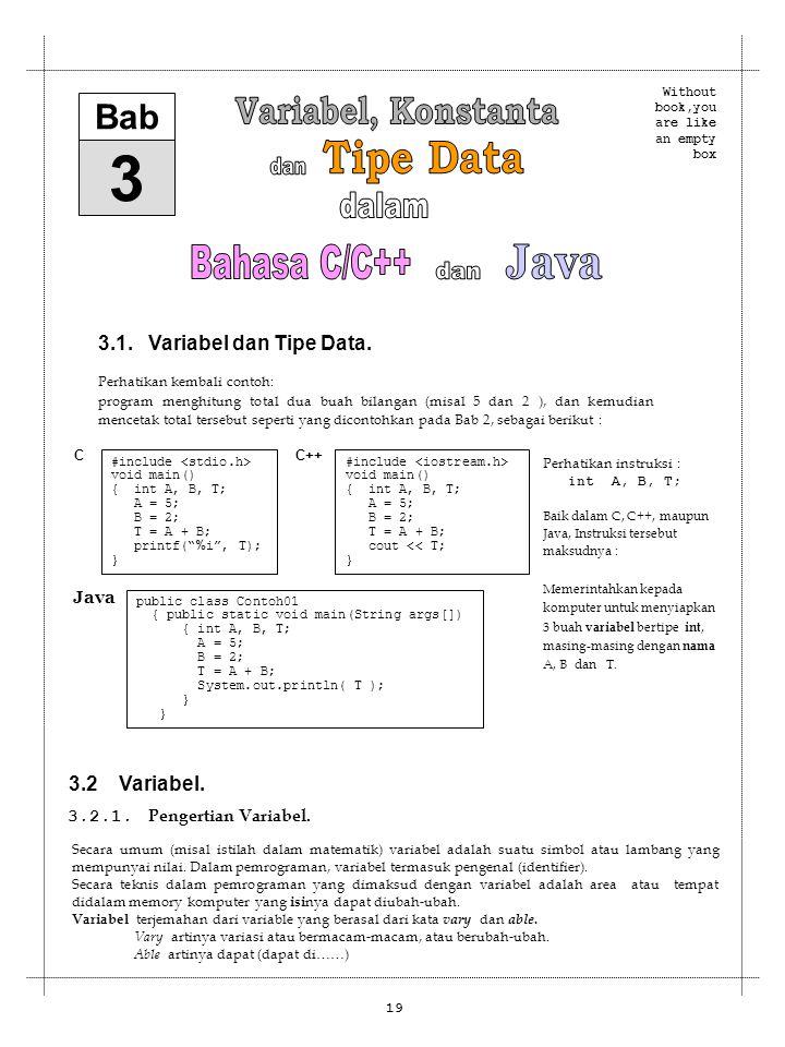 3 Variabel, Konstanta Tipe Data dan dalam Bahasa C/C++ Java dan Bab