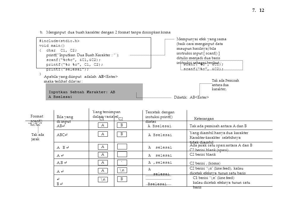 7. 12. b. Menginput dua buah karakter dengan 2 format tanpa disisipkan koma. Mempunyai efek yang sama.