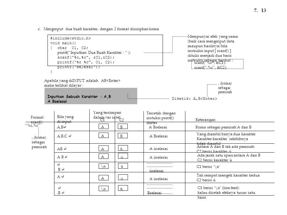 7. 13 c. Menginput dua buah karakter, dengan 2 format disisipkan koma