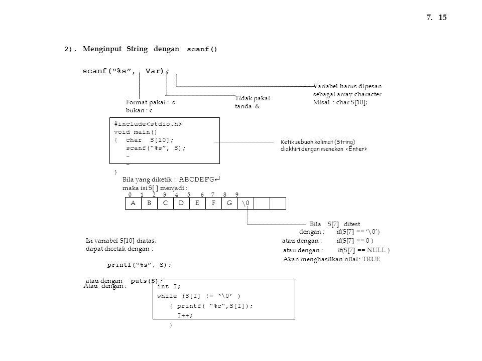 7. 15 scanf( %s , Var); 2). Menginput String dengan scanf()