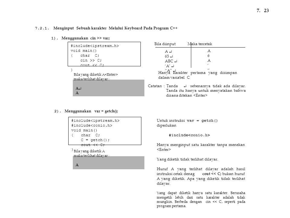 7. 23. 7.2.1. Menginput Sebuah karakter Melalui Keyboard Pada Program C++ 1). Menggunakan cin >> var;
