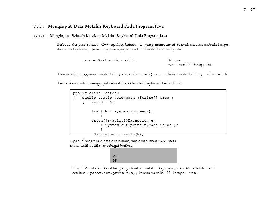 7.3. Menginput Data Melalui Keyboard Pada Program Java
