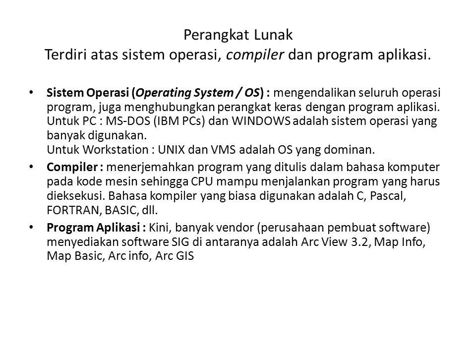 Perangkat Lunak Terdiri atas sistem operasi, compiler dan program aplikasi.