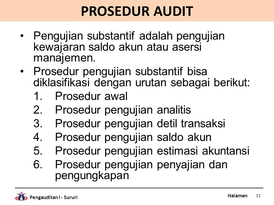 PROSEDUR AUDIT Pengujian substantif adalah pengujian kewajaran saldo akun atau asersi manajemen.