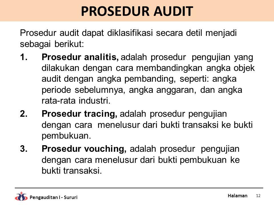 PROSEDUR AUDIT Prosedur audit dapat diklasifikasi secara detil menjadi sebagai berikut: