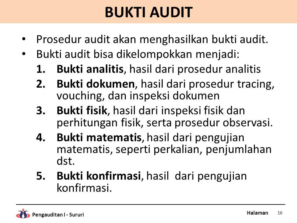 BUKTI AUDIT Prosedur audit akan menghasilkan bukti audit.