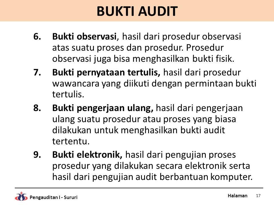BUKTI AUDIT Bukti observasi, hasil dari prosedur observasi atas suatu proses dan prosedur. Prosedur observasi juga bisa menghasilkan bukti fisik.