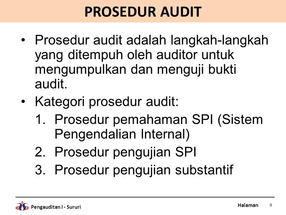 PROSEDUR AUDIT Prosedur audit adalah langkah-langkah yang ditempuh oleh auditor untuk mengumpulkan dan menguji bukti audit.