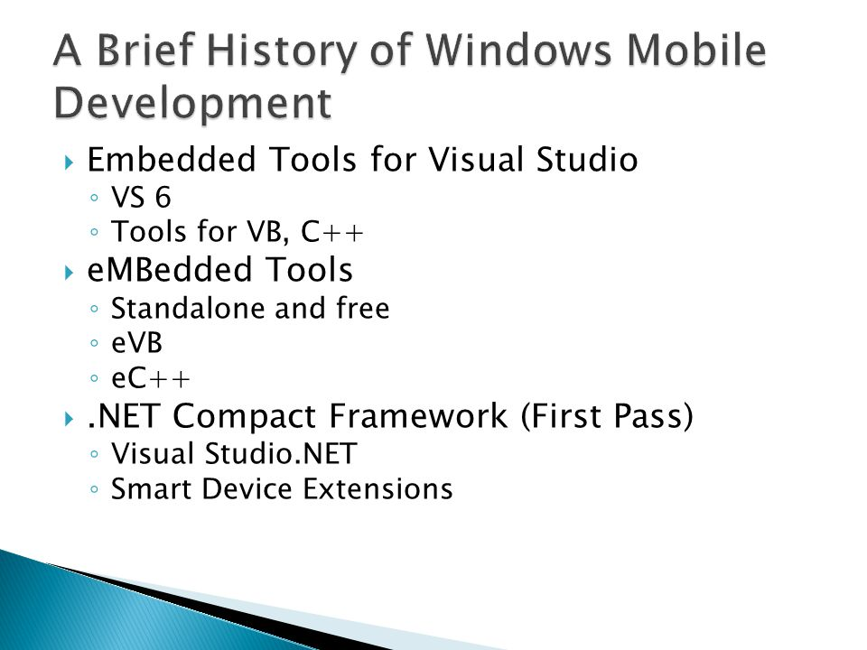 A Brief History of Windows Mobile Development