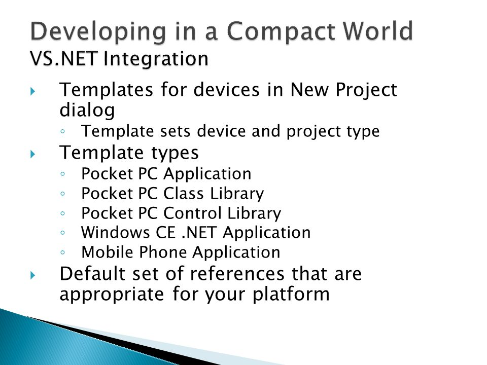 Developing in a Compact World VS.NET Integration
