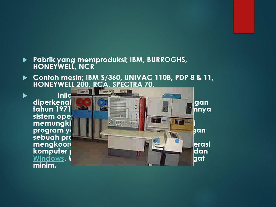 Pabrik yang memproduksi; IBM, BURROGHS, HONEYWELL, NCR