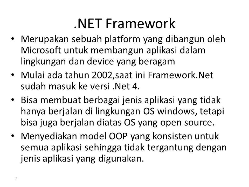 .NET Framework Merupakan sebuah platform yang dibangun oleh Microsoft untuk membangun aplikasi dalam lingkungan dan device yang beragam.